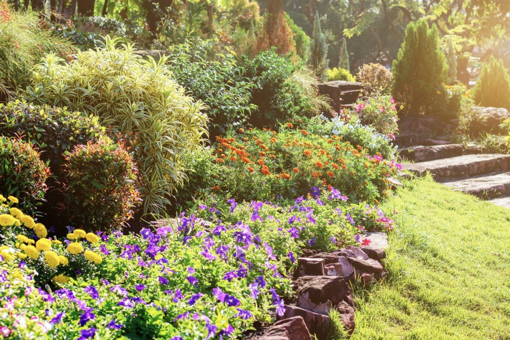 stone border in front of flower garden